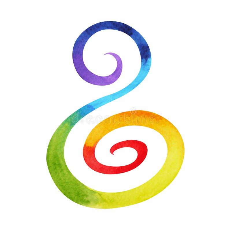 7 chakra标志螺旋花花卉概念,水彩绘画的颜色 库存例证
