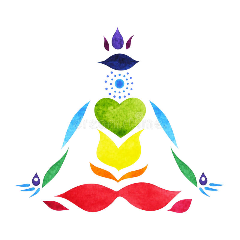 7 chakra标志颜色莲花姿势瑜伽,手拉的水彩绘 库存例证