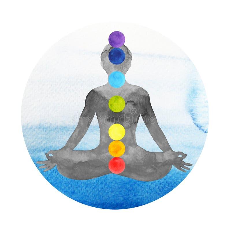7 chakra颜色莲花姿势瑜伽,手拉的水彩绘 库存例证