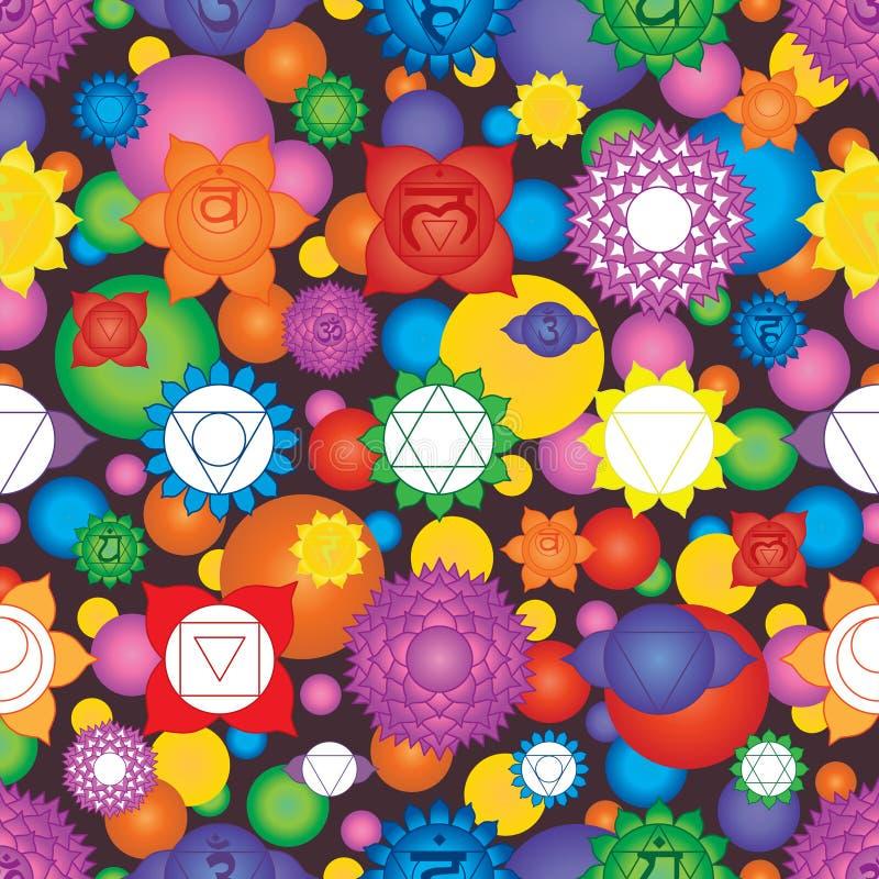 Chakra 7 ζωηρόχρωμο άνευ ραφής σχέδιο σημαδιών απεικόνιση αποθεμάτων