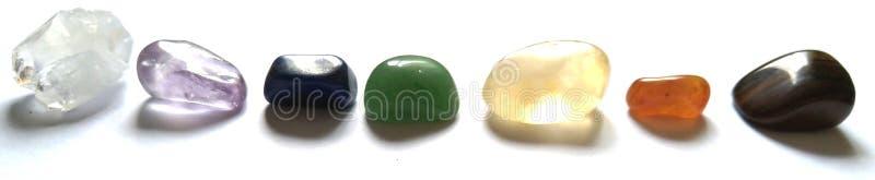 Chakra системы кристаллов 7 излечивать глаз тигра пунктов, Carbeleon, цитрин, зеленое Aventurine, Lazuli Lapis, аметист, Apophyll стоковые изображения rf