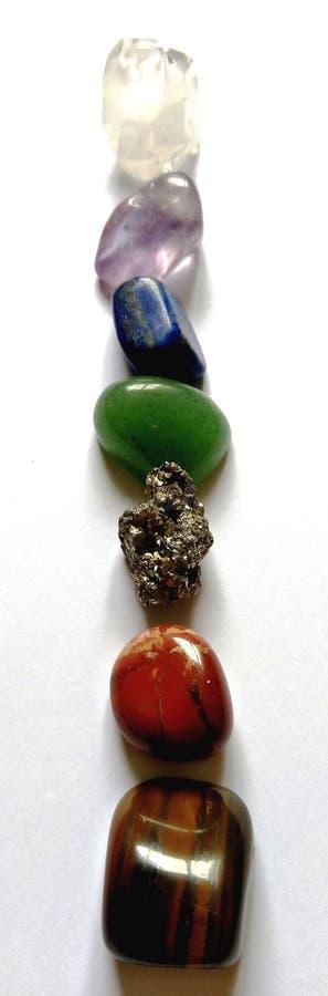 Chakra системы кристаллов 7 излечивать глаз тигра пунктов, Carnelian, цитрин, зеленое Aventurine, Lazuli Lapis, аметист, Apophyll стоковая фотография