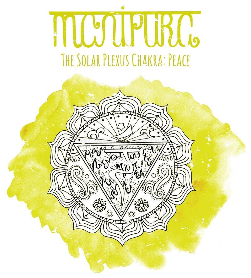 Chakra солнечного плекса на желтом цвете иллюстрация вектора