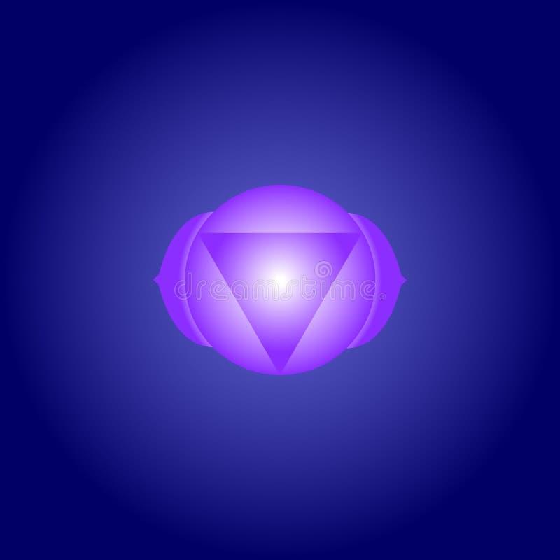 Chakra Ajna för tredje öga i indigoblå färg på mörker - blå utrymmebakgrund Isoteric lägenhetsymbol geometrisk modell vektor royaltyfri illustrationer