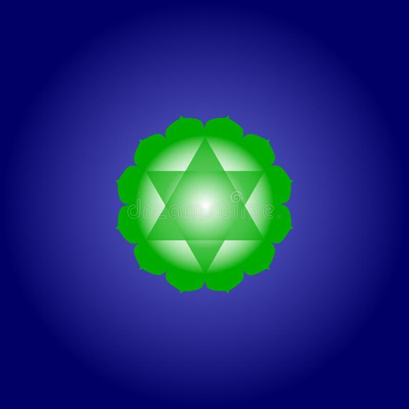 Chakra Anahata del corazón en color verde en fondo azul marino del espacio Icono plano de Isoteric Modelo geométrico Vector libre illustration