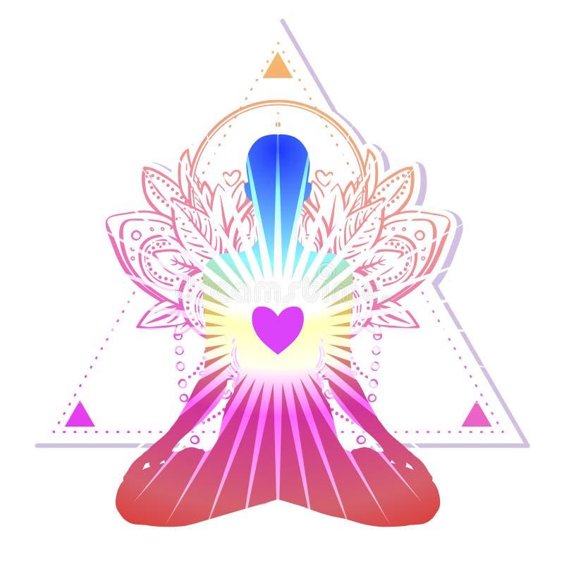 Chakra begrepp Inre förälskelse, ljus och fred Buddhakontur I vektor illustrationer