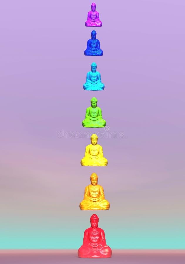 Chakra buddhas - 3D render vector illustration