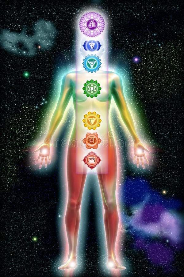 Chakra Color Body Universe. 3D-Rendering of a chakra body royalty free illustration