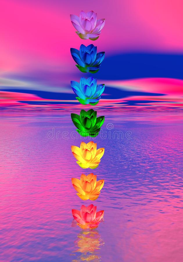 Chakra colors of lily flower royalty free illustration