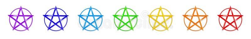 Chakra Colors Pentagram. Rendering of chakra colors pentagrams stock illustration