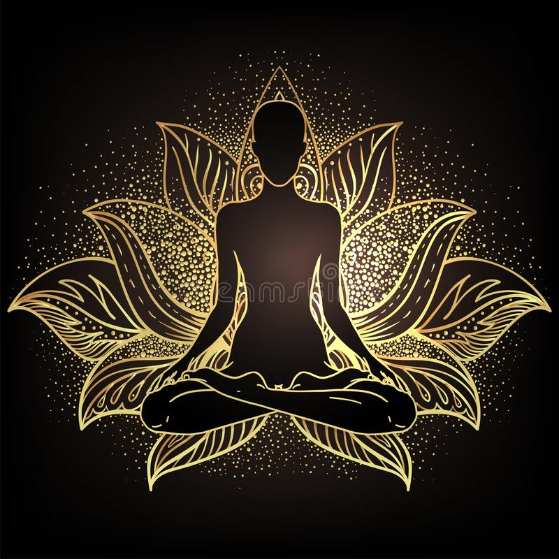 Free Chakra Concept. Inner Love, Light And Peace. Buddha Silhouette In Lotus Position Over Ornate Mandala. Vector Illustration In Gold Royalty Free Stock Photo - 157466535