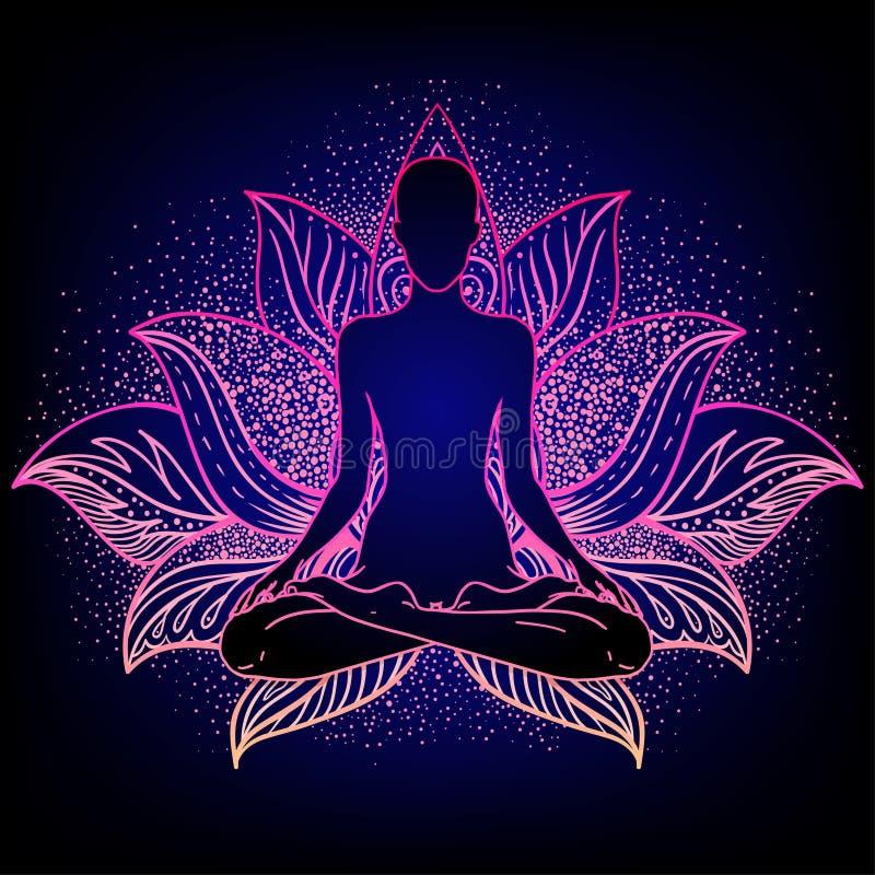 Chakra concept. Inner love, light and peace. Buddha silhouette stock illustration