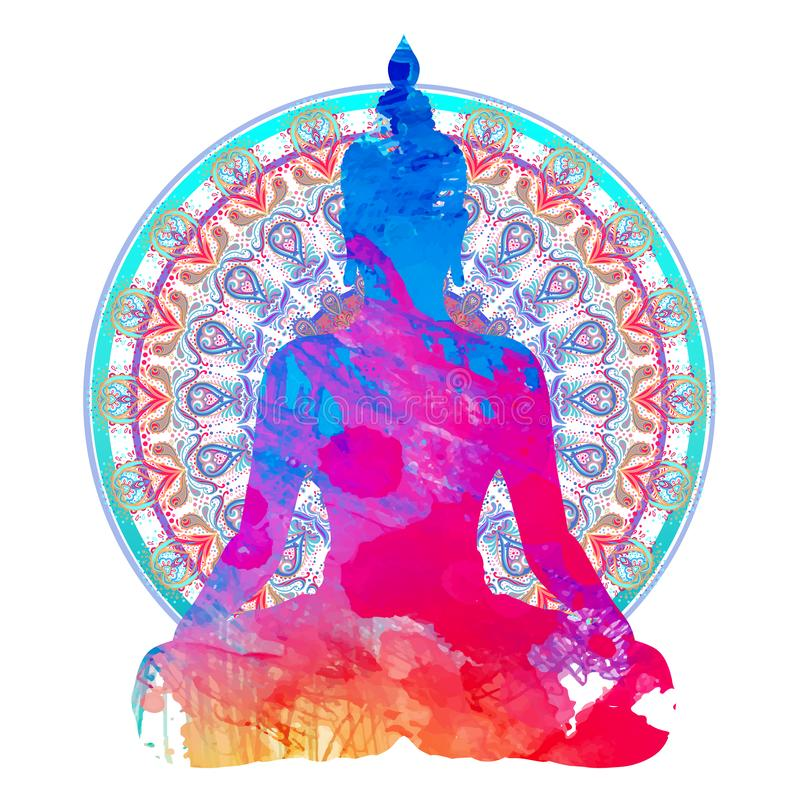 Chakra concept. Inner love, light and peace. Buddha silhouette vector illustration