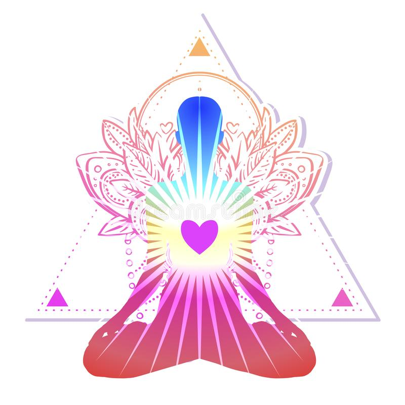 Chakra concept. Inner love, light and peace. Buddha silhouette i. N lotus position over colorful ornate mandala. Vector illustration isolated. Buddhism esoteric vector illustration