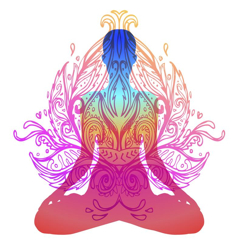 Chakra concept. Inner love, light and peace. Buddha silhouette i royalty free illustration