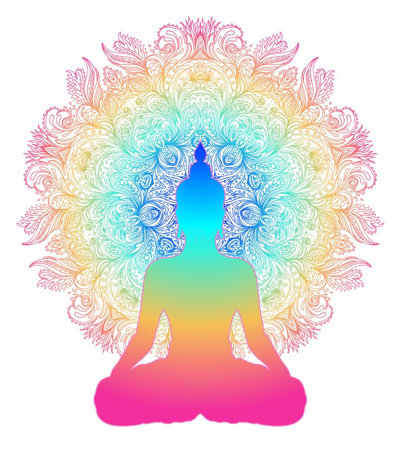 Chakra concept. Inner love, light and peace. Buddha silhouette. In lotus position over colorful ornate mandala. Vector illustration isolated. Buddhism esoteric royalty free illustration