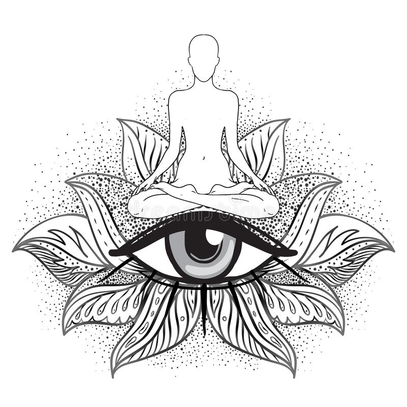 Chakra concept. Inner love, light and peace. Buddha silhouette in lotus position over ornate mandala. Vector illustration isolated vector illustration