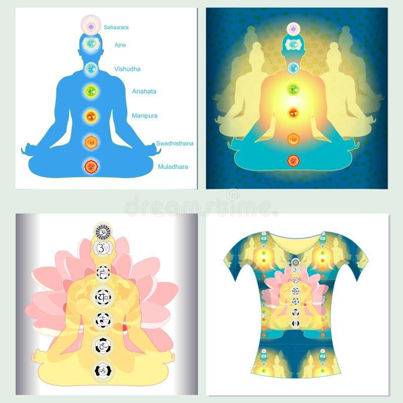 Chakra da ioga da meditação de india do t-shirt da cenografia Illustra do vetor ilustração royalty free
