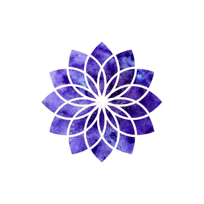 Chakra de Sahasrara La géométrie sacrée Un des centres d'énergie au corps humain L'objet pour la conception destinée au yoga illustration de vecteur