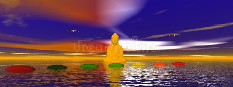 Chakra en Boedha van stappen vector illustratie