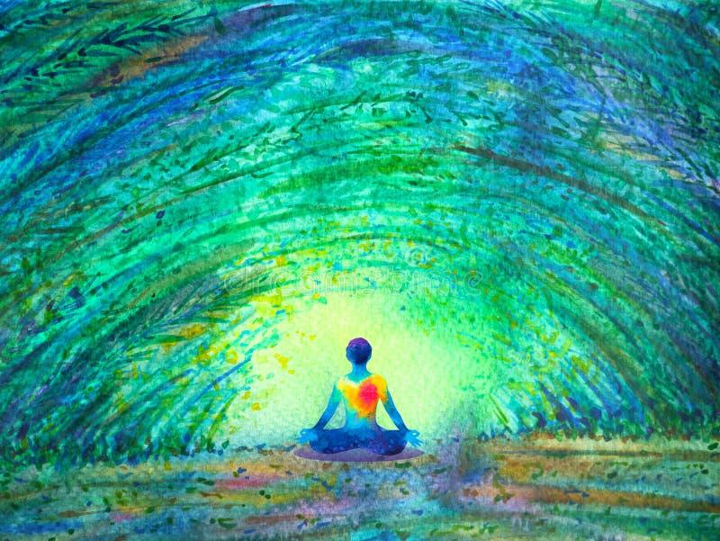 Chakra-Farbmenschliches Lotos-Haltungsyoga im grünen Baumwaldtunnel lizenzfreie abbildung