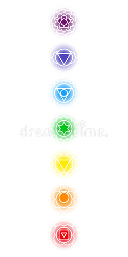 Chakra icons set stock illustration