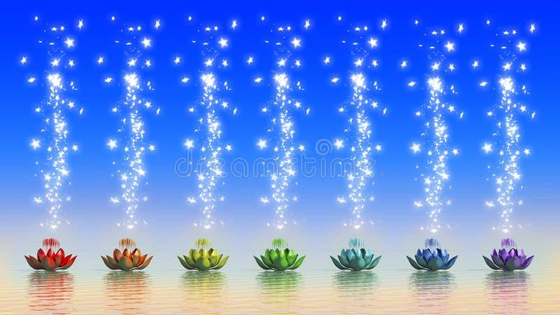 Chakra Lotus. 3d rendering of chakra Lotus with rainbow Colors stock illustration
