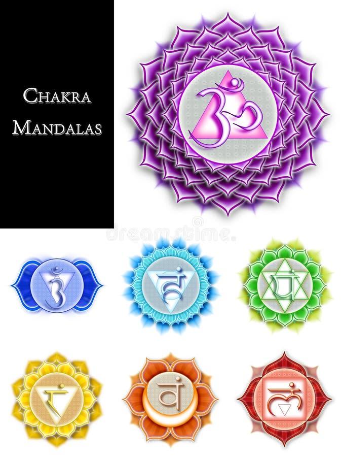 Chakra Mandalas Isolated. Illustration of Chakra Mandala Symbols stock illustration