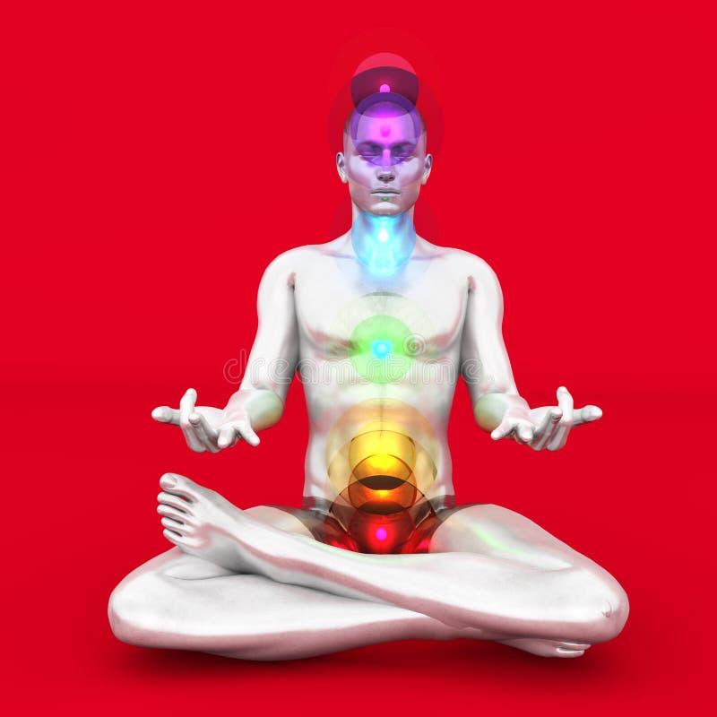 Chakra Meditation. A woman performing a Visudda chakra meditation. 3D rendered illustration royalty free illustration