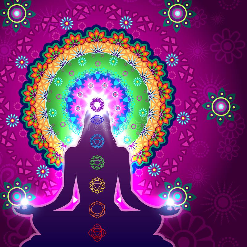 Chakra Meditation Mandala vector illustration