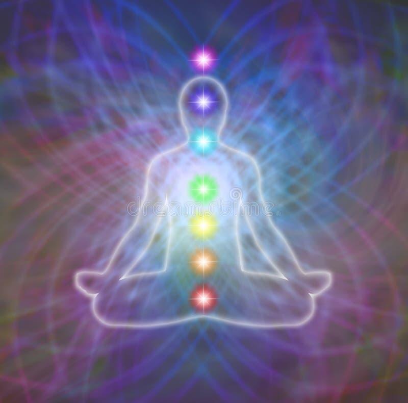 Chakra meditation på matrisenergifält vektor illustrationer