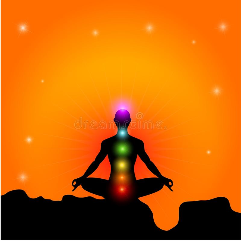 Chakra And Meditation Silhouette royalty free illustration