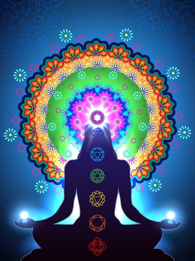 Chakra Meditation vert stock illustration