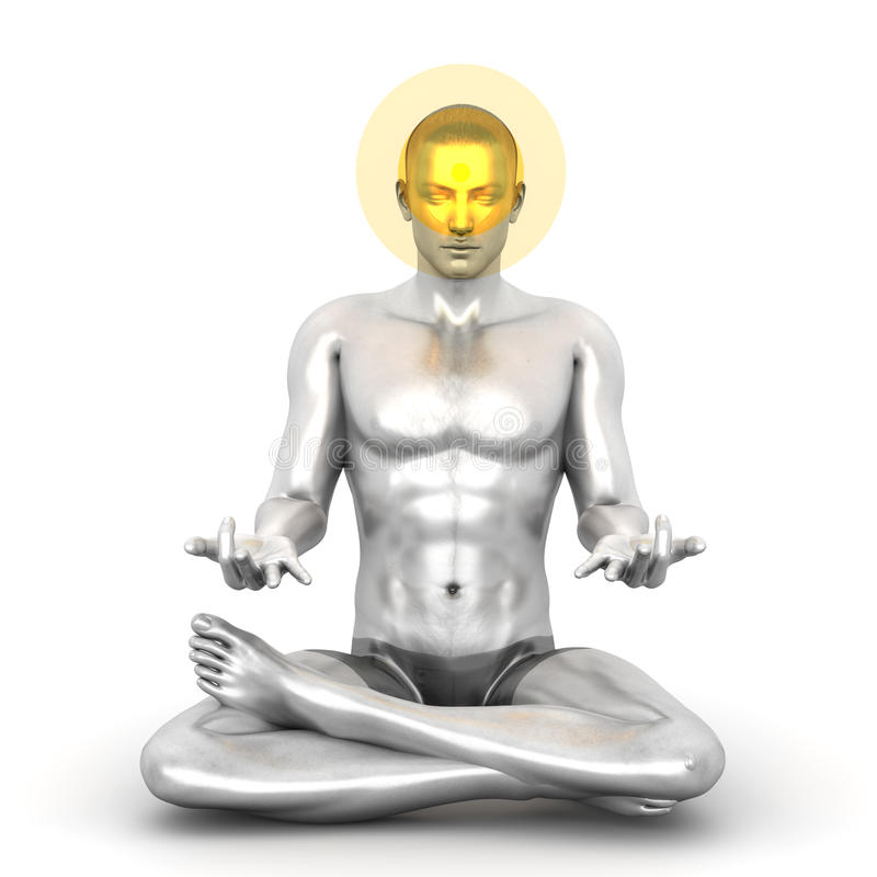 Chakra Meditation. A woman performing a Ajna chakra meditation. 3D rendered illustration stock illustration