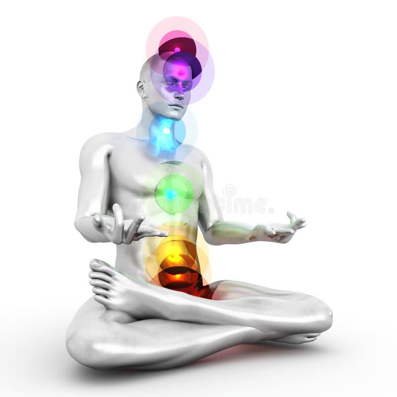 Chakra Meditation. A woman performing a full chakra meditation. 3D rendered illustration stock illustration