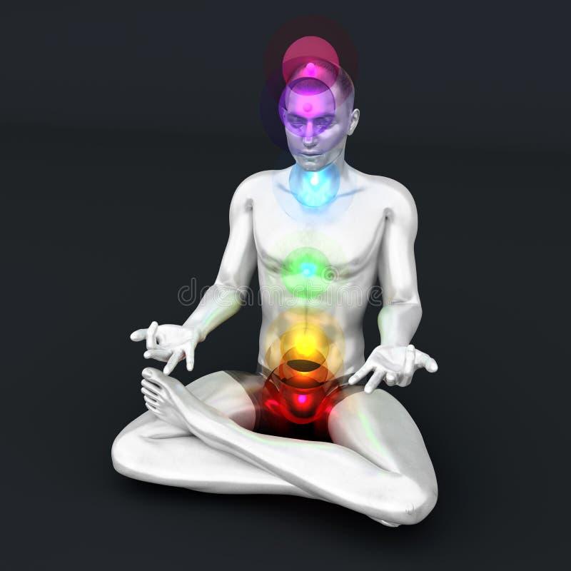 Chakra Meditation. A woman performing a full chakra meditation. 3D rendered illustration vector illustration