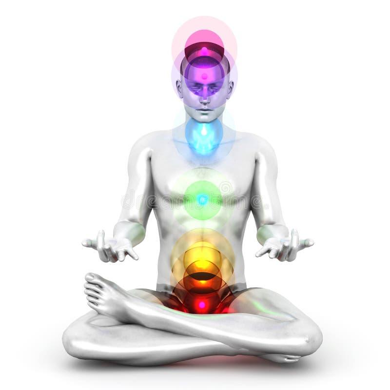 Chakra Meditation. A woman performing a full chakra meditation. 3D rendered illustration royalty free illustration