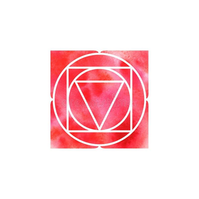 Chakra Muladhara геометрия священнейшая Один из центров энергии в человеческом теле Объект для дизайна запланированного для йоги иллюстрация штока