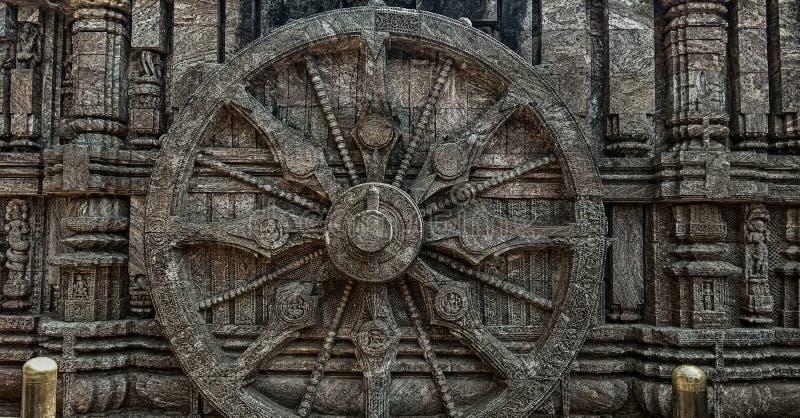 Chakra på tempelväggen som gjorde stenen royaltyfri foto