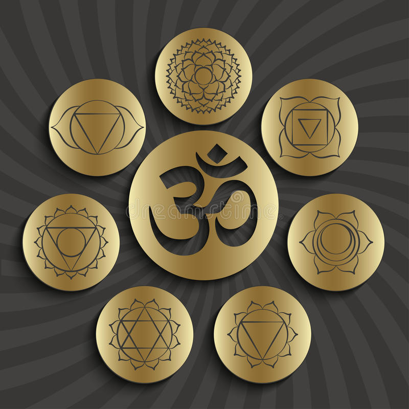 Chakra pictograms and symbol OM in the centre. Set of elements used in Hinduism, Buddhism and Ayurveda royalty free illustration