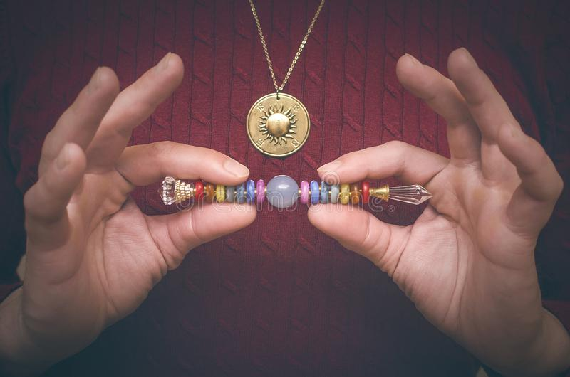 Chakra. Scepter of 7 chakras. stock photo