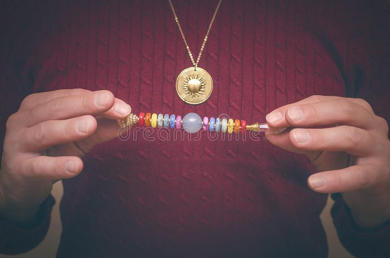 Chakra. Scepter of 7 chakras. Scepter of the seven chakras for healing meditation stock image