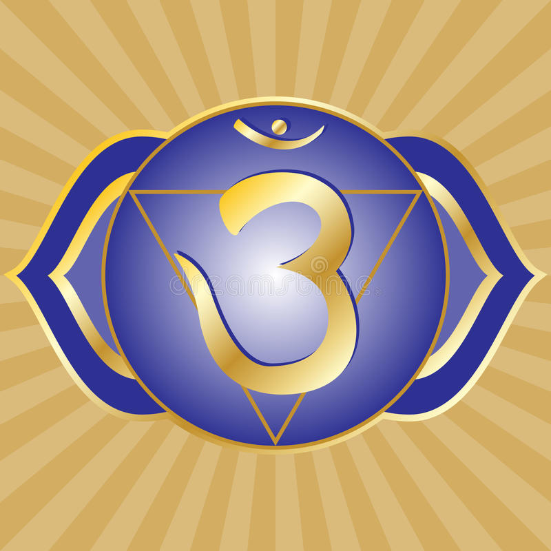 Chakra Series: Ajna. Or third eye chakra symbol vector illustration