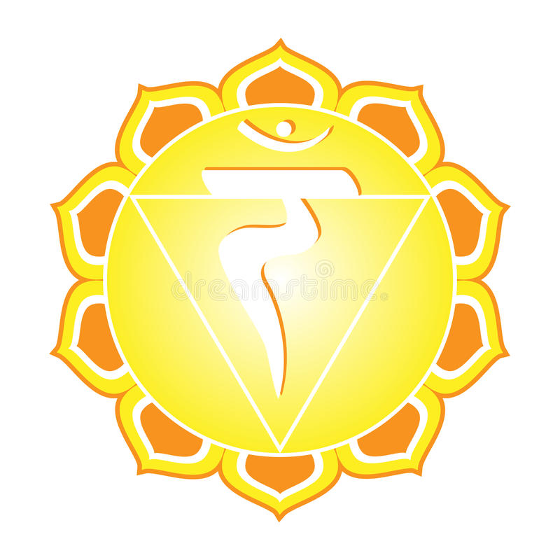 Chakra Series: Manipura. Or solar plexus chakra symbol vector illustration