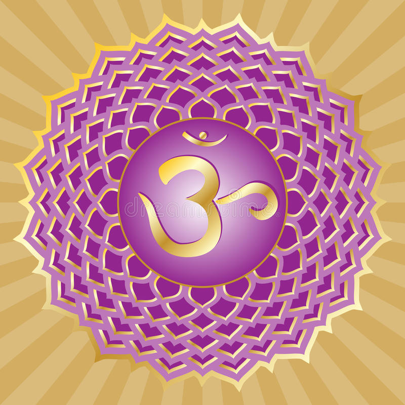 Chakra Series: Sahasrara. Or crown chakra symbol stock illustration
