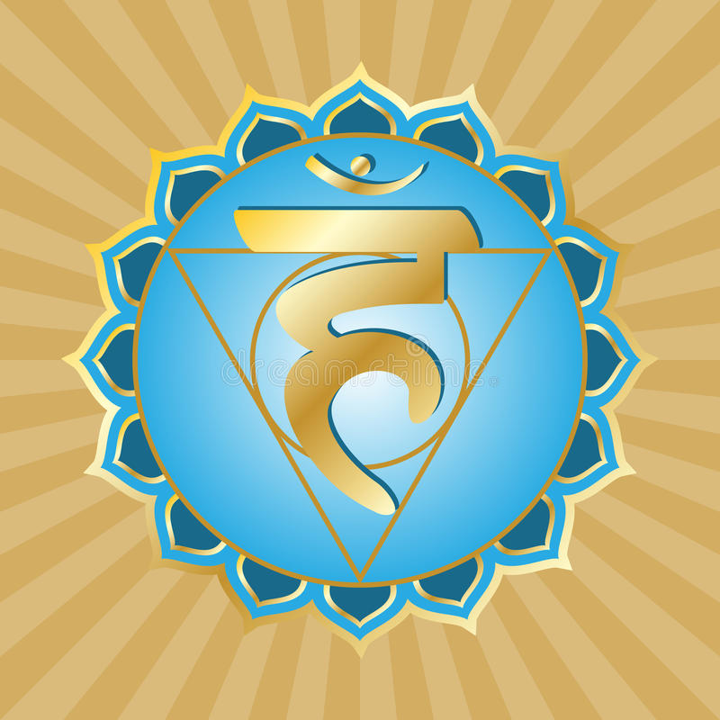 Chakra Series: Vishudha. Or throat chakra symbol royalty free illustration