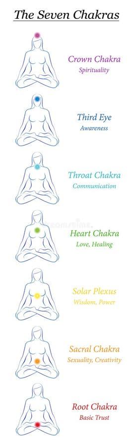 Chakra Seven Symbols Female Body Yoga Energy Bookmark. Chakra symbols. 7 rainbow colored chakras of a female body with description. Meditating woman in yoga stock illustration
