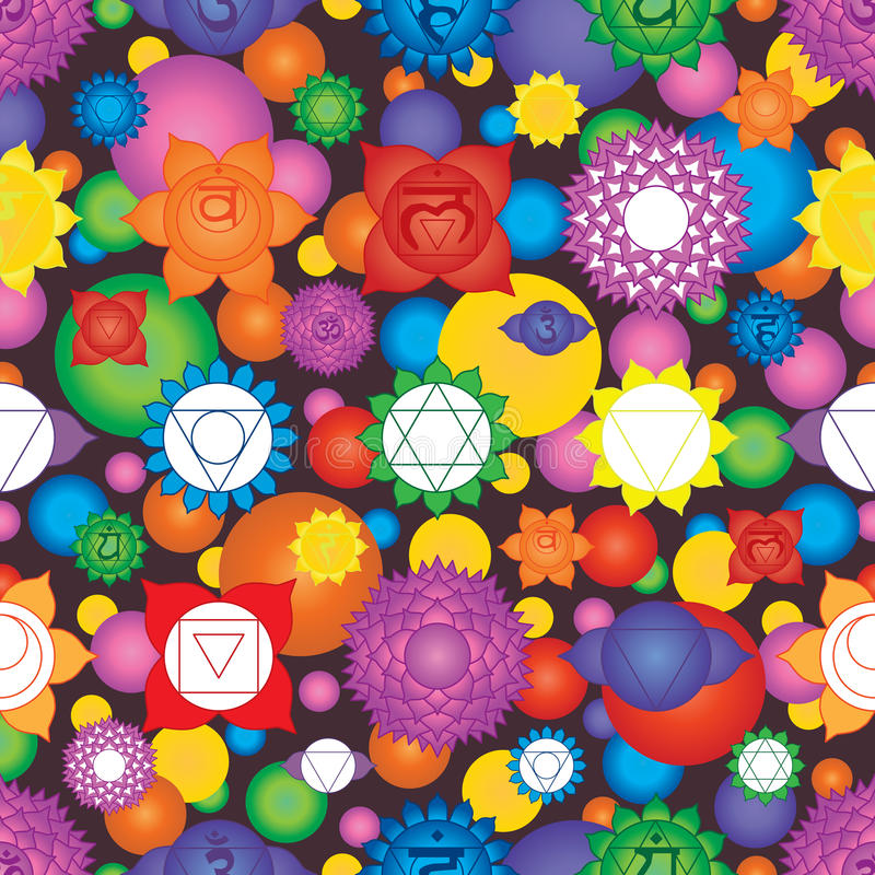 Chakra 7 sign colorful seamless pattern stock illustration