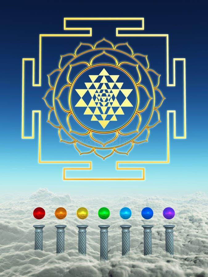 Chakra Spheres And Sacred Shree Yantra royalty free illustration
