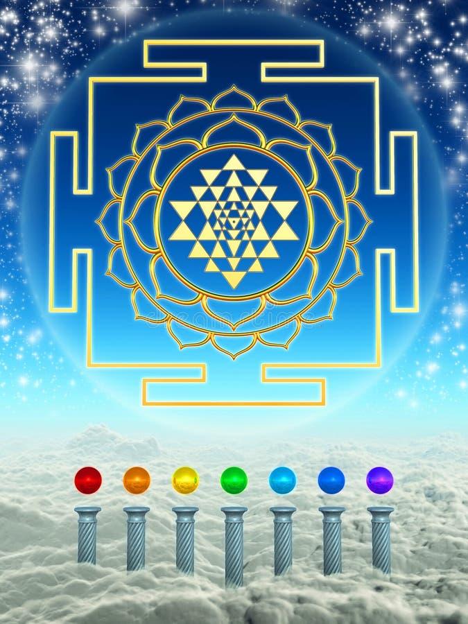 Chakra Spheres And Sri Yantra royalty free illustration